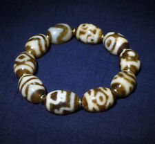Old Tibetan Agate DZI Beads Daluo GZI Bracelet Blessed By Eminent Lama