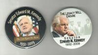 2 TED Edward KENNEDY PIN Memory John Robert  1932 - 2009 pinback MEMORIAL