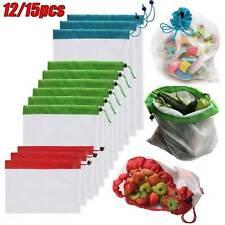 12 / 15Pcs Reusable Mesh Storage Bags Organizer Produce Fruit Veg Eco Friendly