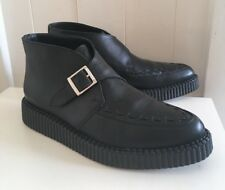 Topshop Real Leather Monk Strap Pointed Creeper Boots. Slim fit Sz 4 ( 3-4 ) VGC