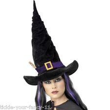 NUOVO Cappello Strega Woman's Girl Nero & Porpora Cintura Costume Halloween Horror