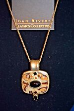 Joan Rivers ANIMAL ENAMEL AND CABOCHON PENDANT Necklace 22 inch GOLD CHAIN