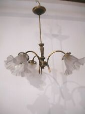 VINTAGE FRENCH CEILING PENDANT LIGHT HOLDER.THREE GLASS SHADES. ANTIQUE BRASS.