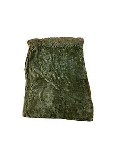 """Textillery Weaver Rose Chenille Throw Fringe Blanket 73"""" x 43"""" Green"""