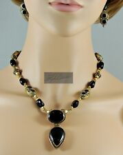 NEW ETHNIC GOLDEN BRASS AND BLACK AGATE TIBETAN STYLE NECKLACE & EARRING SET 18""