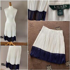stunning ivory blue pleated Ralph Lauren skirt size 8 wedding christian