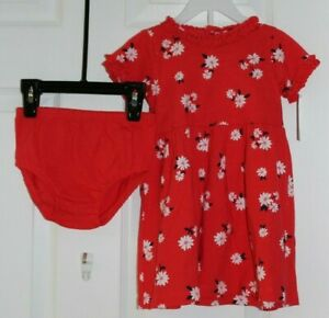 GIRLS SZ 18M 2 PC DRESS SET-RED DRESS w/FLOWERS AND RED PANTIES by CARTER'S-NWT'