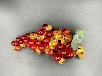 "Lucite Acrylic Retro Grape Cluster Red/Amber 8"" Inches Mid Century Modern"