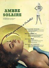 F- Publicité Advertising 1956 La Crème Ambre Solaire