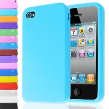 HIGH QUALITY PLAIN SOFT SILICONE IMPACT BACK CASE COVER FOR IPHONE 4 4S 4G