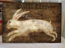 Vintage Wooden Sign White Rabbit Inn EST 1784 Country Farm Hare Bunny Rabbit