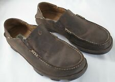 Olukai Moloa Leather Slip Ons in Brown Dk Wood/ Dk Java Men's Size 10