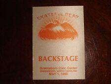 Rare Vintage GRATEFUL DEAD BACKSTAGE PASS Greensboro, NC Civic Center 5/1/1980