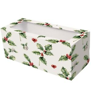 "12 "" inch Christmas Log Yule Log Cake Boxes  pack of 5 vintage holly design"