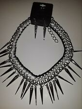 Black White Ribbon Wrapped Silver Necklace with Spikes and Spike Earrings