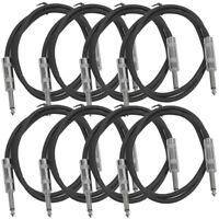 """SEISMIC AUDIO New 8 PACK Black 1/4"""" TS 2' Patch Cables - Guitar - Instrument"""