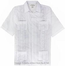 Big and Tall Men's Guayabera Short Sleeve Shirt, 2XL - 8XL, 2XLT - 6XLT Foxfire