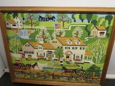 Completed Needlepoint~16 x 20 Framed Beautiful Colors Exquisite Early Days Art
