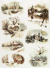Carta di riso-Paesaggio invernale-Villaggio Per Decoupage Scrapbooking Foglio