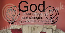 Christian church Biblical Vinyl wall art PSALM 46:1 GOD IS OUR REFUGE & STRENGTH