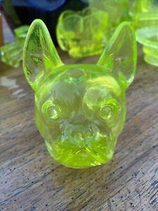Boyd Vaseline Glass French Bulldog
