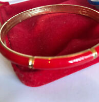 Vintage Red Enamel And Gold Tone Bangle