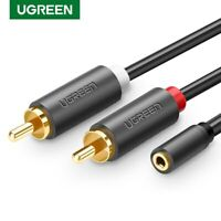 Ugreen RCA Cable 2 RCA Male to 3.5mm Jack Adapter Audio Aux Cable for iPhone DVD