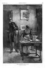 Under the Mistletoe  -  A Test of Courage  -  Original Antique Print  -  1884