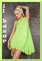 vestito donna mini abito corto Plissee Dress Sheryl verde neon taglie s/m e l/xl