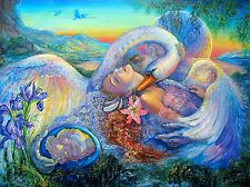"""JOSEPHINE WALL """"LEDA AND THE SWAN"""" Hand Signed Embellished Art Giclee on Canvas"""
