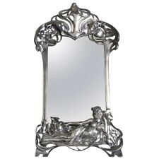 Rare Antique Art Nouveau Figural Maiden Pewter Mirror Attributed To WMF