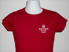 NEW WOMENS JUNIORS BACARDI RUM BLACK RAZZ LOGO T SHIRT MEDIUM BAT LOGO