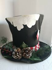 Snowman Black Top Hat Christmas Tree Topper New Nwt