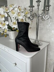 Christian Louboutin Gena 85 Black Leather Ankle Sock Boots 41 AUTHENTIC❤️