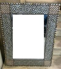 Wall Mounted Mirror,Beech Wood Frame Inlaid Mother of Pearl & Real Tortoise Back