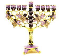 Ciel Collectibles Decorative Enamel Menorah Decorated with Swarovski Crystals