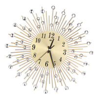 Luxury Aluminium Dial Sunburst Diamante Metal Wall Clock Living Room Decor A