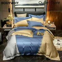 Patchwork Embroidery Cover 4Pcs 1000TC Egyptian Cotton Bedding Set 1Bed Sheet