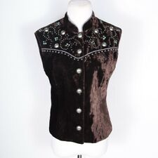 Double D Ranch Button Vest Velvet Embellished Metallic Beads Fitted Brown XS