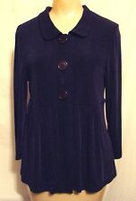 Womens PM Choices navy slinky acetate spndx jacket big buttons 3/4 sleeves XC