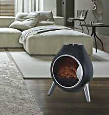 1.8Kw Free Standing Portable Retro Black Oval Flame Effect Electric Fireplace