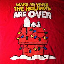 Peanuts Red T Shirt Size XL Wake Me When The Holidays Are Over Funny Christmas