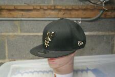 New Era NBA San Antonio Spurs Snapback Hat Cap Black Gold Metal Framed OSFA