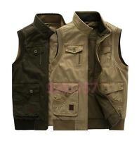 NEU Herren doppelseitige Baumwollweste Kahki Armee-gruen Jacke S-7XL