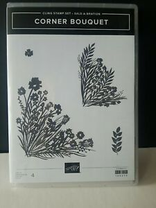 Stampin Up Corner Bouquet 4 Pc Cling Stamp Set, New