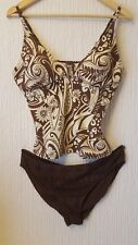 Ladies womens floral chocolate brown tankini size (16 top 20 bottoms)