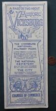 1930-40s Era Historic Vicksburg,Mississippi Civil War Battle Sites map brochure!