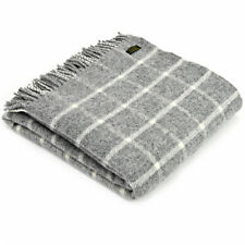 TWEEDMILL TEXTILES 100% Wool Sofa Bed Blanket Rug Throw CHEQUERED CHECK GREY