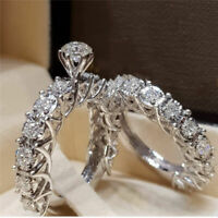 Women 925 Silver Filled Crystal Ring Fashion Wedding Engagement Jewelry Size 6-9