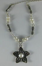 """SHABLOOL DIDAE Israel .925 Sterling Silver Freshwater Pearl Flower 18"""" Necklace"""